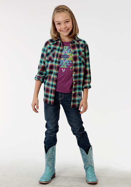 Roper Girls Ombre Plaid Western Shirt