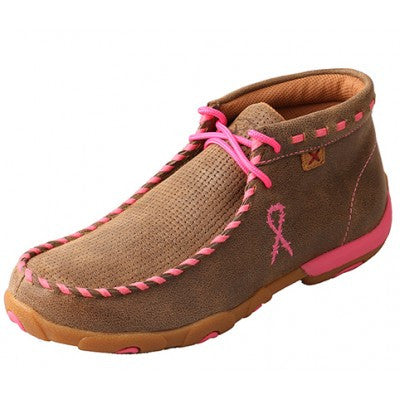 Twisted X Ladies TETWP Driving Mocs Bomber Neon Pink Whip Stitch