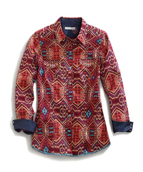 Tin Haul Womens Aztec Print Long Sleeve Snap Shirt