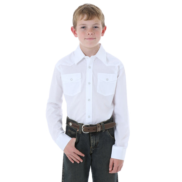 Wrangler Boys White Long Sleeve Dress Western Solid Snap Shirt 204WHSL