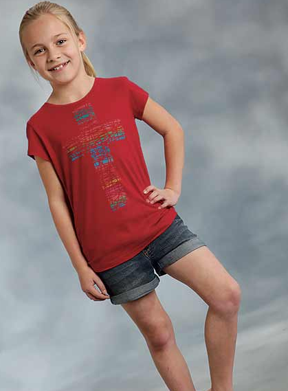 Roper Western Shirt Girls S/S Cross Tee Red 03-009-0514-2062 RE