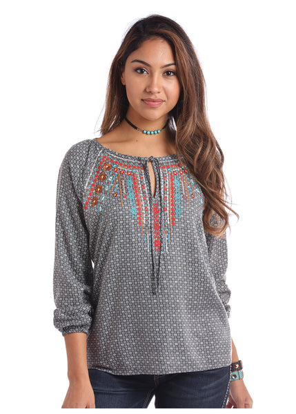 Panhandle Women's Grey Peasant Top