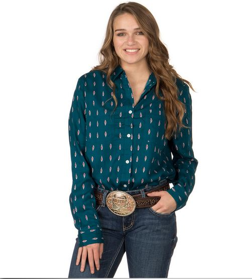 Panhandle Slim Plus Size Ladies' Feather Print Long Sleeve Western Shirt