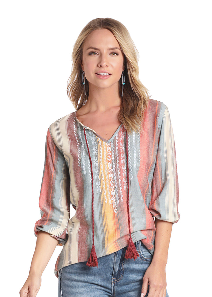 Panhandle Women's Serape Peasant 3/4 Sleeve Top