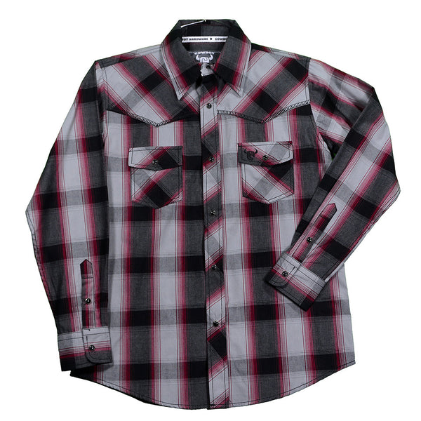 Cowboy Hardware Boys Blk/Grey/Red Plaid L/S Snap Shirt