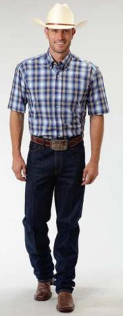 Roper Men's Short Sleeve Blue May Day Plaid