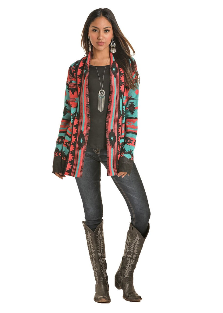Rock & Roll Turquoise and Pink Aztec Print Cardigan Sweater