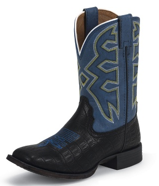 NOCONA KIDS BLACK CROCO LETS RODEO COWBOY BOOTS