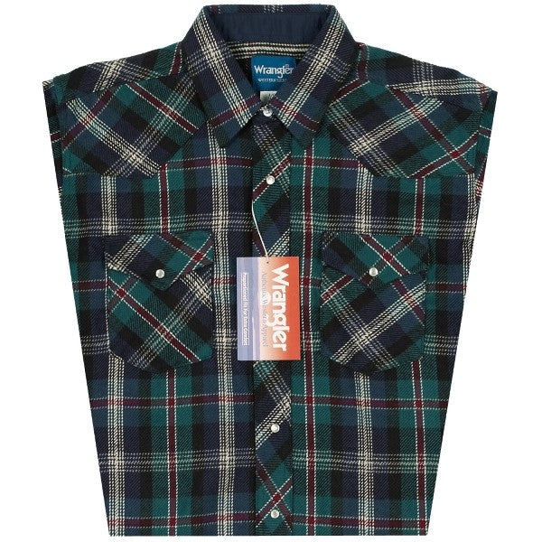 Wrangler Mens Brushed Heavyweight Plaid Flannel Sport Western Shirt *Assorted Colors*