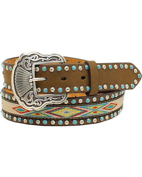 Nocona Womens Ribbon Inlay Turquoise Stone Belt