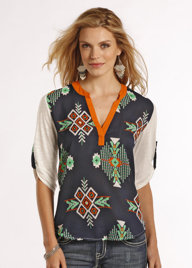 Rock & Roll Cowgirl Womens Aztec Chiffon Shirt