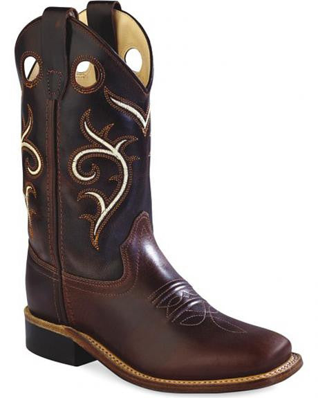 Old West Childs Brown Swirl Western Cowboy Boots Square Toe BSC1887