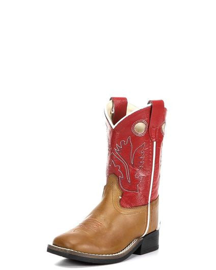 Old West Toddler Red/Caramel Broad Square Toe Boot BSI1883