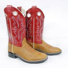 Jama Old West Youth Tan Square Toe Boots BSY1883