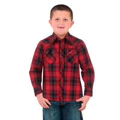 Wrangler Retro Boys Red/Blk Plaid Snap Shirt