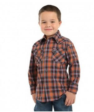 Wrangler Retro® Boys' L/S Orange, Blue and Black Plaid Snap Shirt