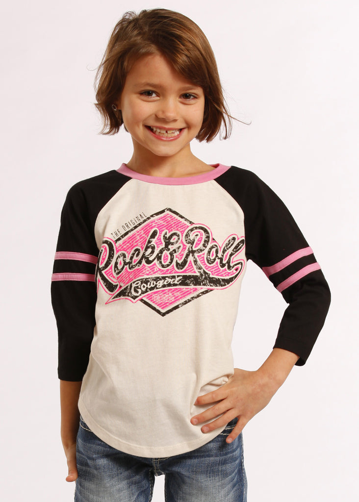 Rock & Roll Cowgirl Girls Graphic Baseball Tee