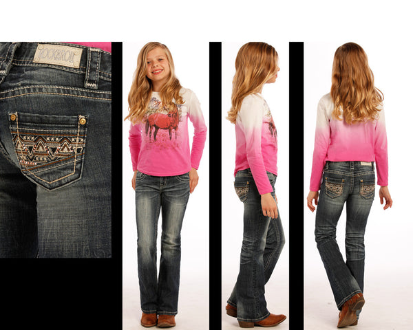 Rock & Roll Cowgirl Girls Aztec Rhinestone Boot Cut Jean