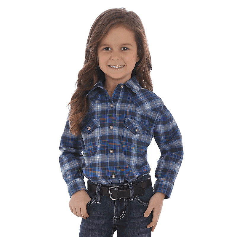Wrangler Girls Blue/Rose Plaid Pearl Snap Shirt