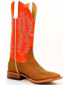 Anderson Bean Horse Power Mens Honey Crazy Horse Tangerine Glove Top Cowboy Boot