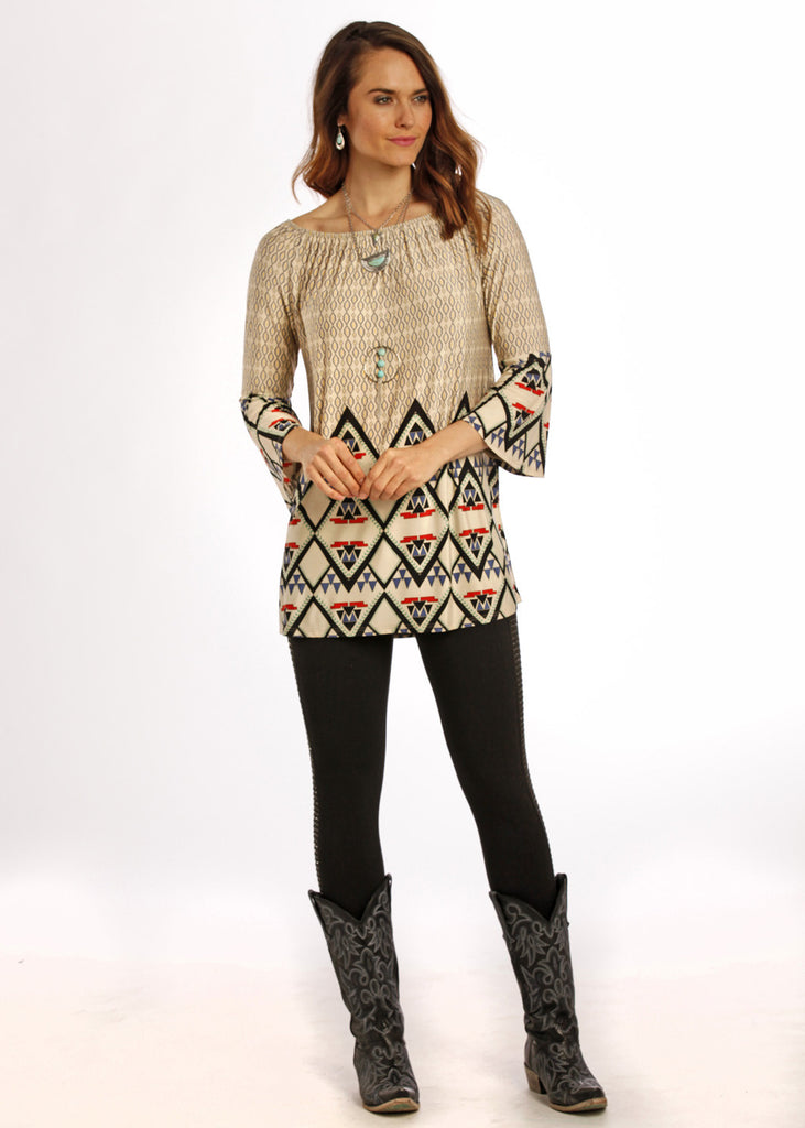 Panhandle Slim Womens Bell Sleeve Aztec Top