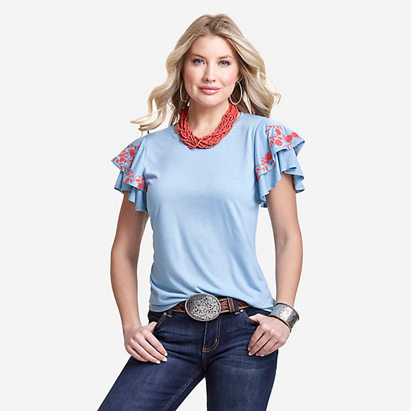 Wrangler Retro Women's Floral Embroidered Ruffle Sleeve Top