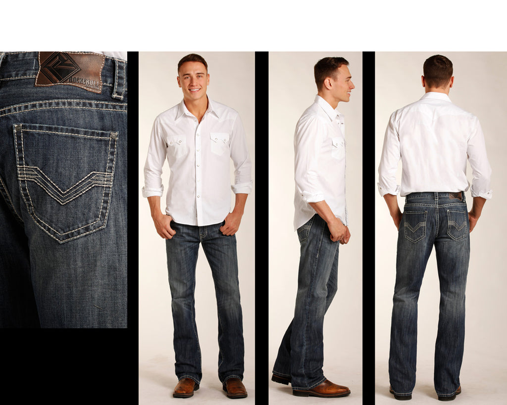 Rock /& Roll Denim Mens Double Barrel Relaxed Fit Jeans