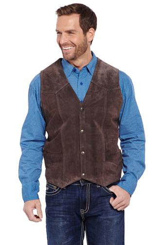 Cripple Creek Mens Basic Vest with Snap Front Antique Chocolate