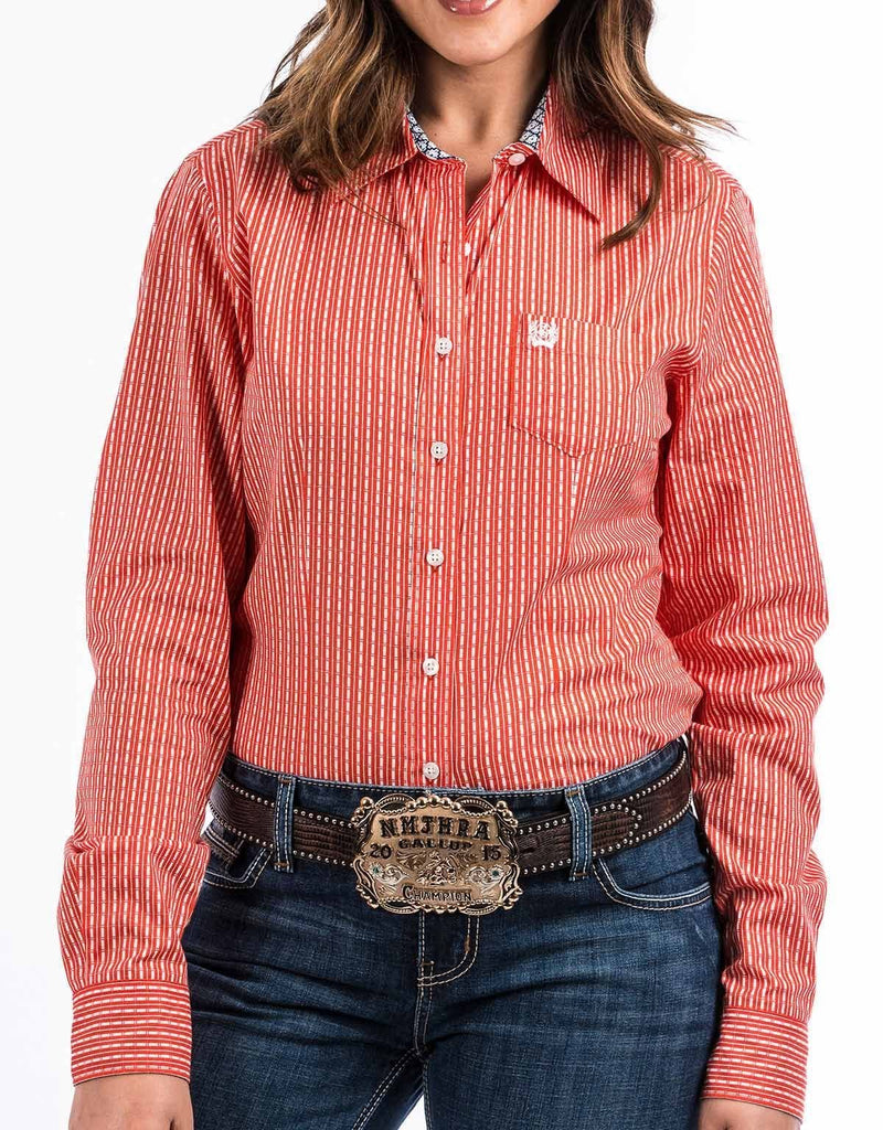 Cinch Women's Long Sleeve Print Button Down Shirt - Orange