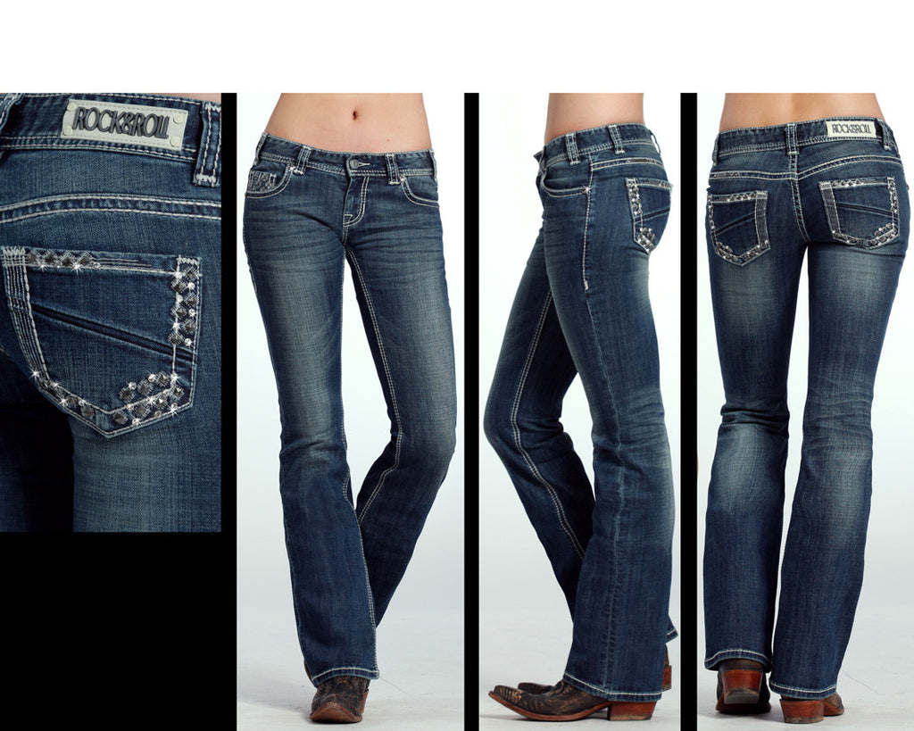 Rock & Roll Denim Jeans for Women Low Rise Boot Cut