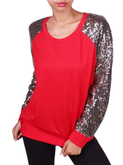 Women's Red Top with Sequined Sleeves