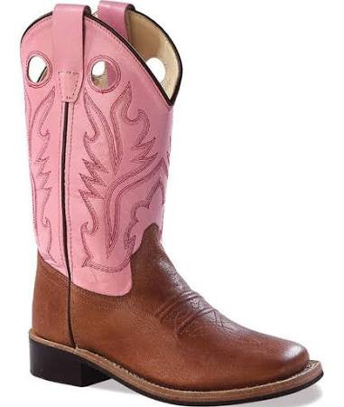 Jama Old West Youth Pink/Brown Square Toe Cowboy Boot BSY1839