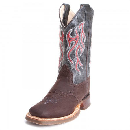 Old West Youth Blue w/Distressed Square Toe Cowboy Boots BSY1868
