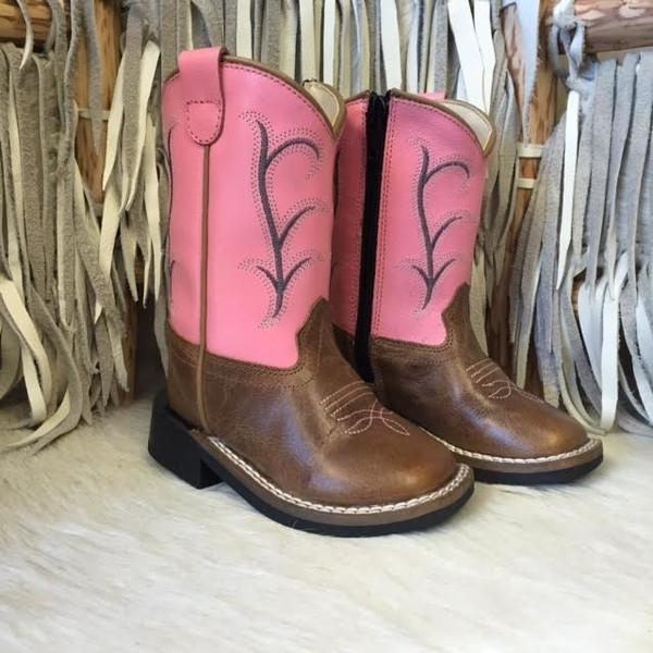 Old West Toddler Pink/Brown Cowboy Boot #BSI1869