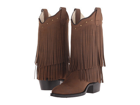Kids Old West Brown Fringe Cowgirl Boots  #8125