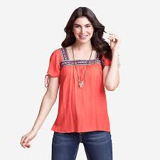 Wrangler Retro Women's Short Sleeve Peasant Square Neck Top