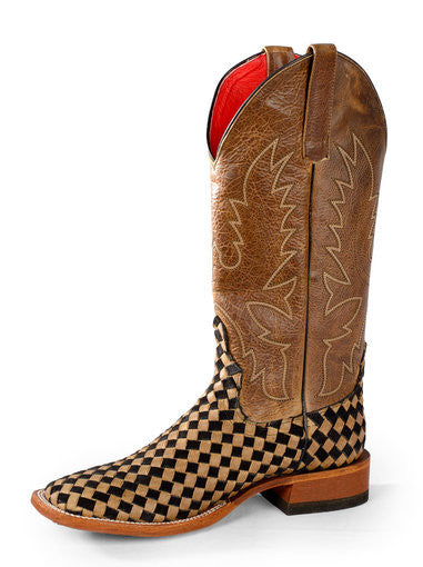 Macie Bean Womens Unbeweavable Black & Tan Cowboy Boot