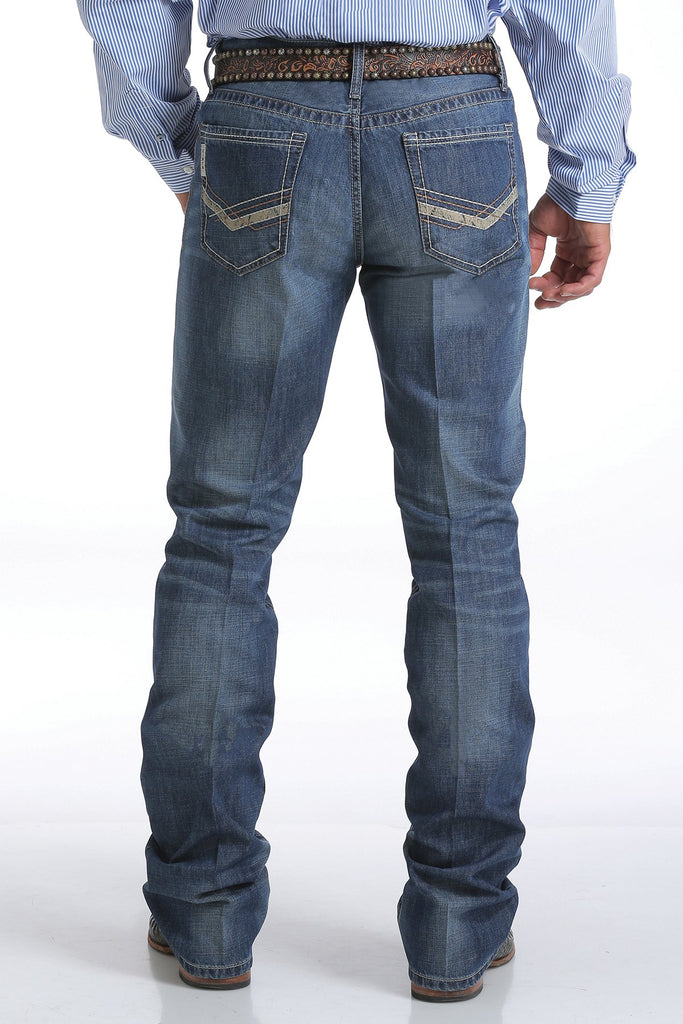 Cinch Ian Mid Rise Slim Boot Cut Medium Stonwash Jean