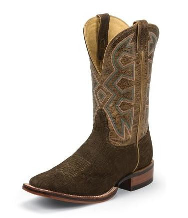 Nocona Mens Brown Hippo Print Let's Rodeo Cowboy Boot
