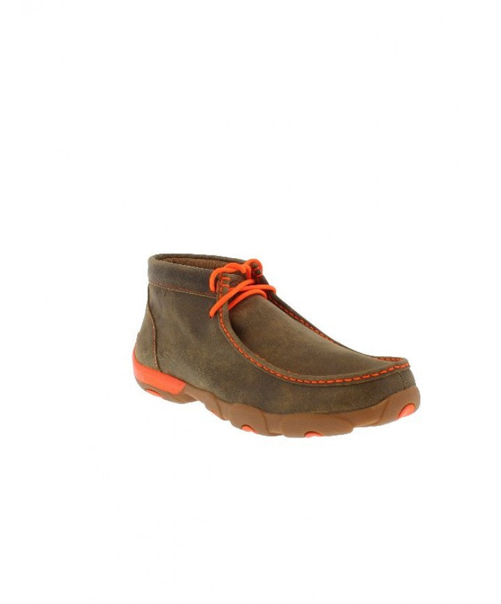 Twisted X Men's Neon Orange Trimmed Brown Bomber Driving Mocs