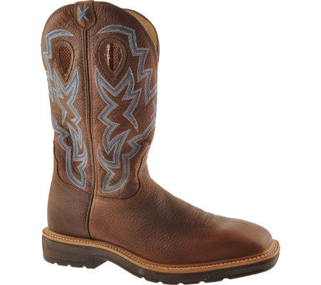 Mens Lite Cowboy Work NWS Toe  Brown Pebble Twisted X Boots