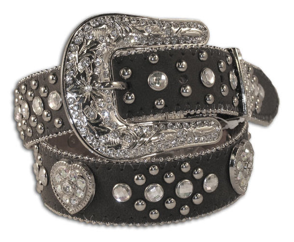 Nocona Girls's Black Heart Concho and Rhinestone Calf Belt N4425201