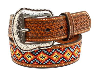 Nocona Western Belt Kids Leather Embroidered Tan