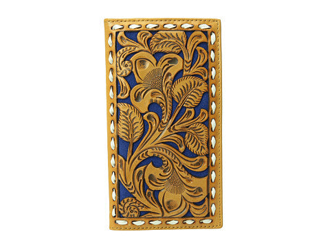 Nocona Mens Blue Floral Embossed Rodeo Wallet