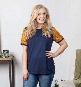 Women's Fresh Air & Sunshine Tee with Sleeve Detail, Navy