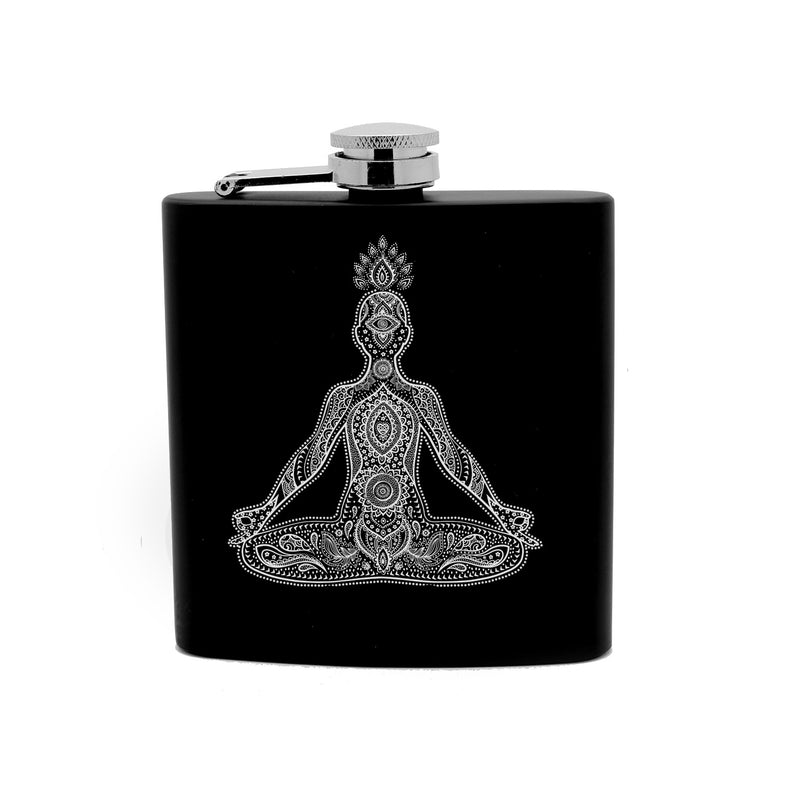 Personalized Flask 6oz Black Stainless Steel Laser Engrave Om Meditation