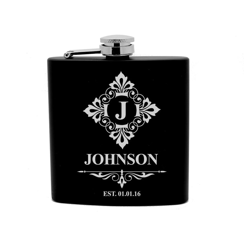 Personalized Flask 6oz Black Stainless Steel Laser Engrave Name and Initial
