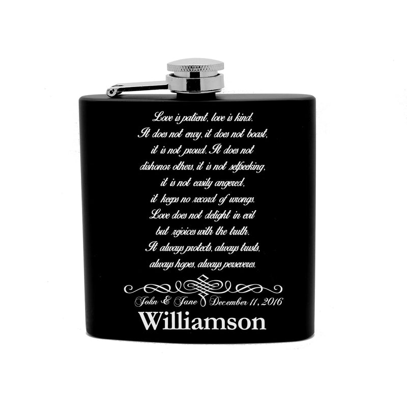 Personalized Flask 6oz Black Stainless Steel Laser Engrave Love is Patient Wedding Corinthians Bible