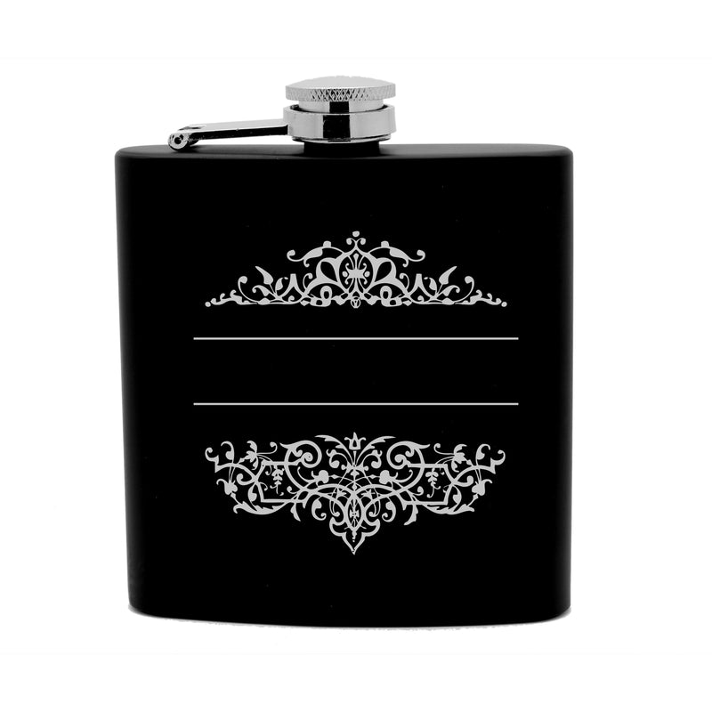 Personalized Flask 6oz Black Stainless Steel Laser Engrave Couple Surname Date Filigree