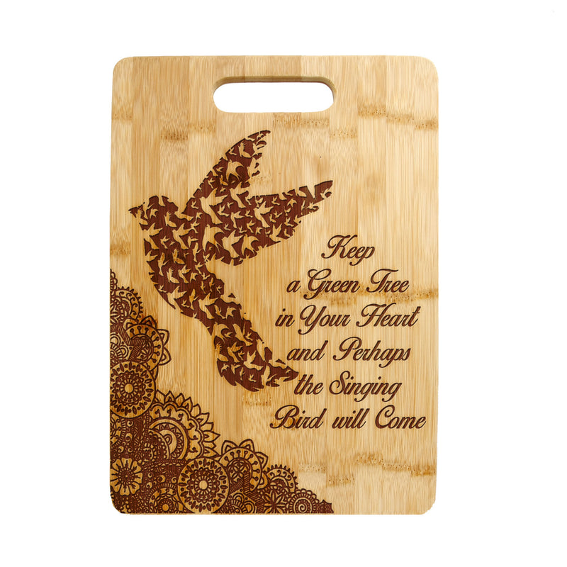 Floral Paisley Birds Quote Laser engraved on Bamboo Cutting Board, Wedding Present, Anniversary Gift, Housewarming Gift - CTB-117